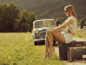 girl waiting for car