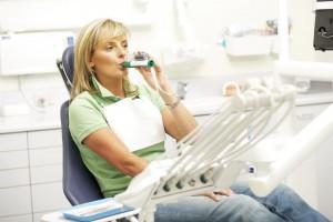 Patient using Penthrox Inhaler