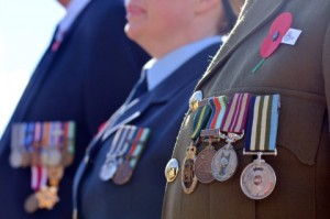 Close up of war medals on New Zealander soldiers during a National War Memorial Anzac Day services in New Zealand.