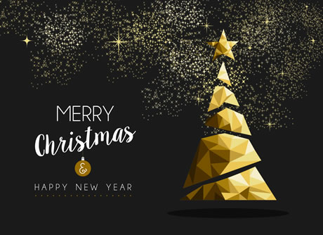 xmas card golden christmas tree